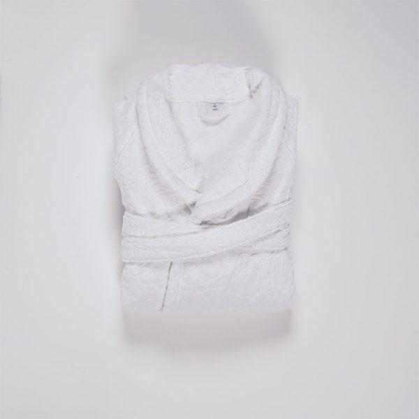 accappatoio bagno jacquard bianco victorian