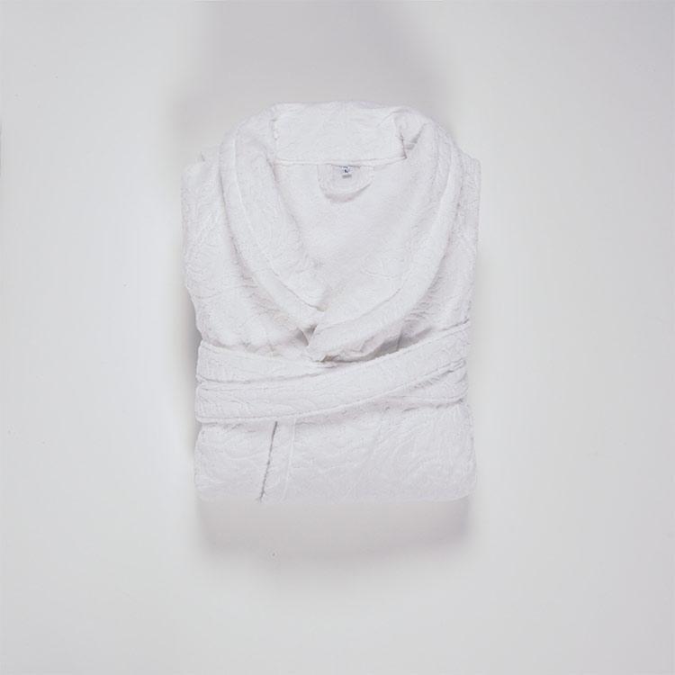 accappatoio bagno jacquard bianco