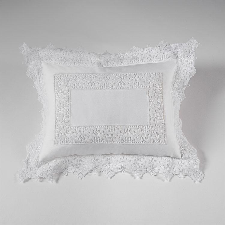 federa decorativa boudoir pizzo bianco