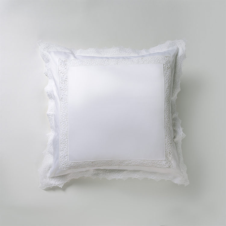 federa decorativa quadrata pizzo bianco