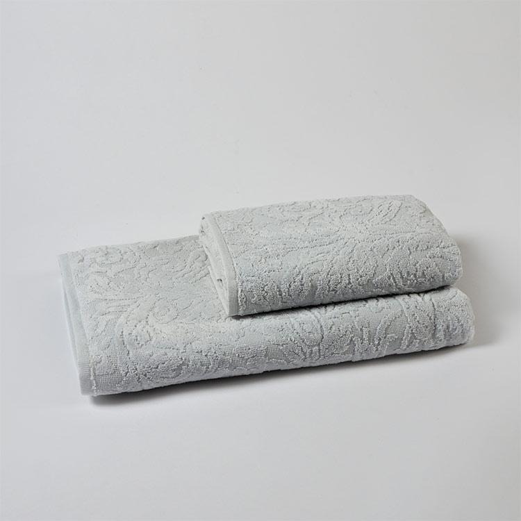 set spugna bagno jacquard allover grigio perla