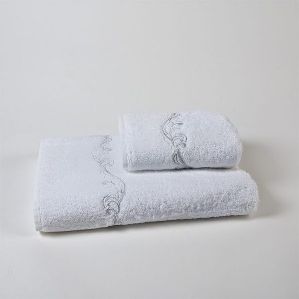 set spugna bagno ricamo jacquard grigio victorian
