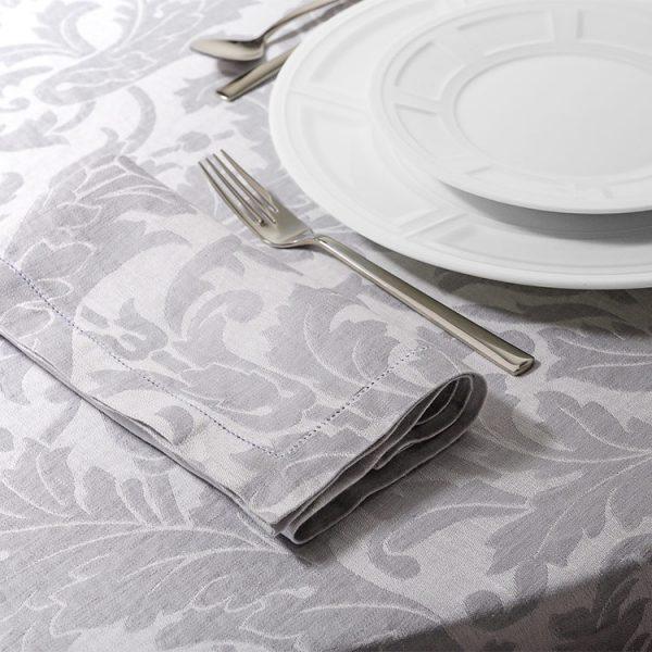 Tovaglia lino tessuto jacquard grigio victorian