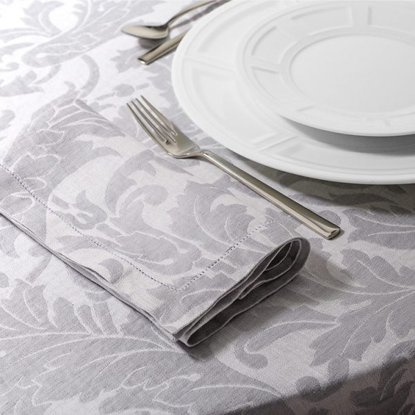 Tovaglioli tavola tessuto jacquard grigio motivo victorian