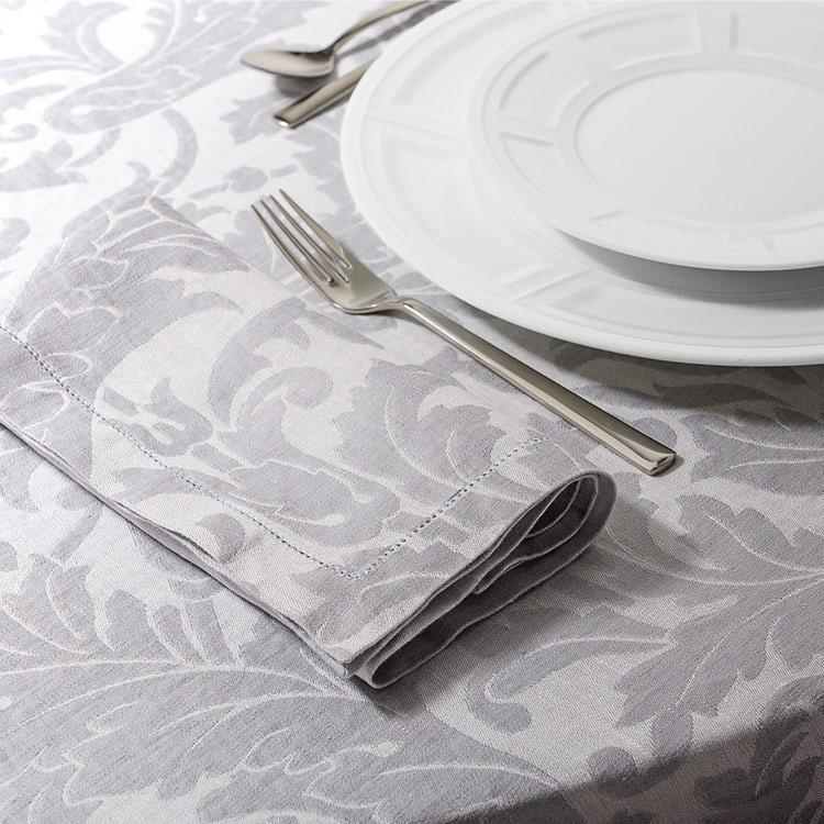 Tovaglioli tavola tessuto jacquard grigio motivo