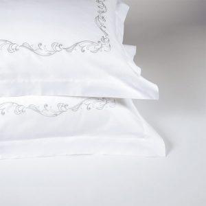 coppia federe cuscini letto ricamo jacquard grigio victorian