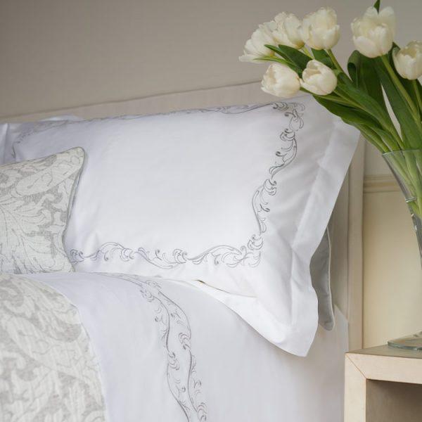 parure lenzuola matrimoniale grigio perla victorian