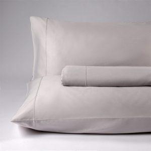 parure lenzuola matrimoniale raso grigio perla lounge